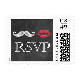 Mustache & Lips RSVP Stamp