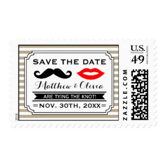 Mustache & Lips Save the Date Stamps