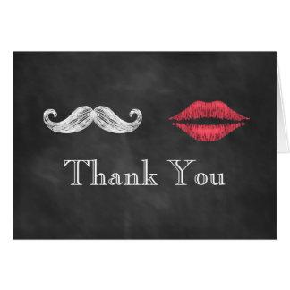 Mustache & Lips Thank You Card