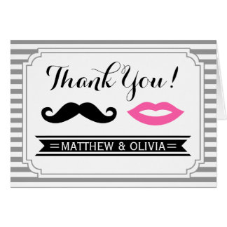 Mustache & Lips Thank You Cards