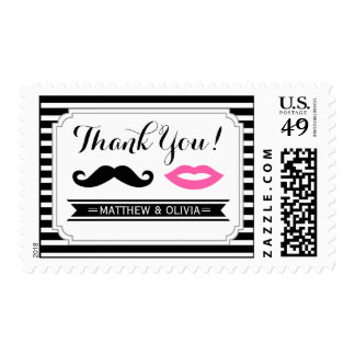 Mustache & Lips Thank You Stamps