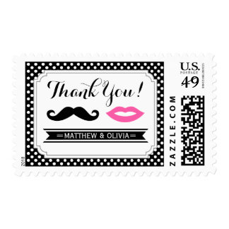 Mustache & Lips Thank You Stamp
