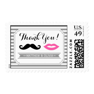 Mustache & Lips Thank You Postage Stamps