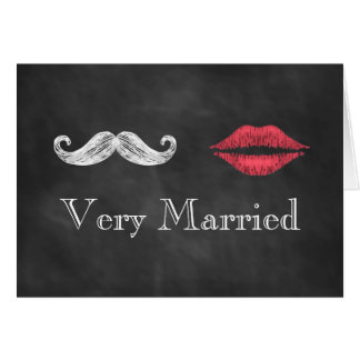 Mustache & Lips Very Married Holiday Card