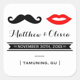 Mustache & Lips Wedding Favor Stickers