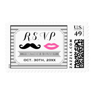 Mustache & Lips Wedding RSVP Postage Stamps
