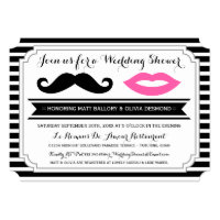 Mustache & Lips Wedding Shower Invites