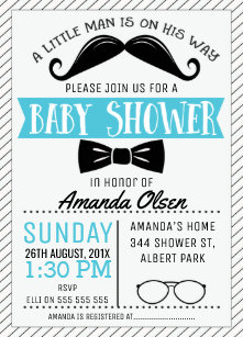 Mustache Little Gentleman Baby Shower Invitation