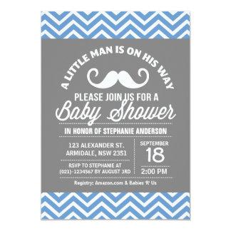 Mustache little man baby shower 5x7 paper invitation card