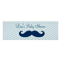 Mustache Little Man Baby Shower Banner Poster