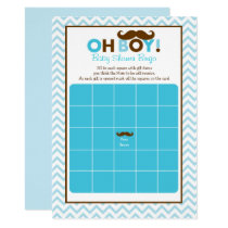 Mustache Little Man Baby Shower Bingo Card