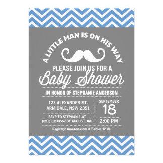 Mustache little man baby shower custom invitations