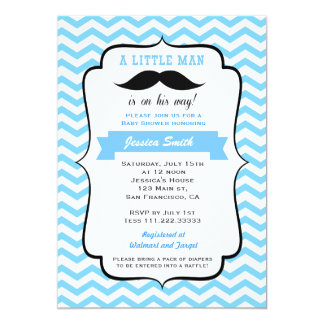 "Mustache Little Man Baby Shower Invitation 5"" X 7"" Invitation Card"