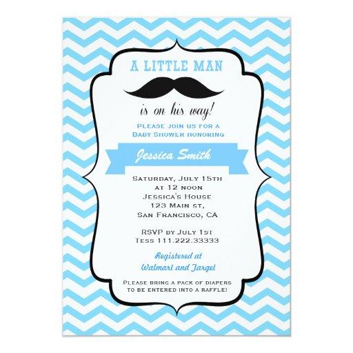 mustache little man baby shower invitation zazzle