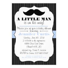 Mustache Little Man Baby Shower Invitation
