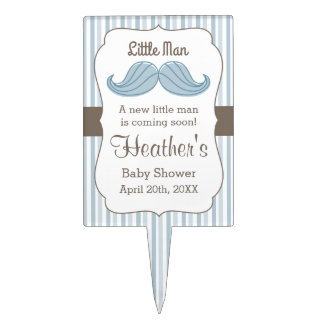 Mustache Little Man Cake Topper