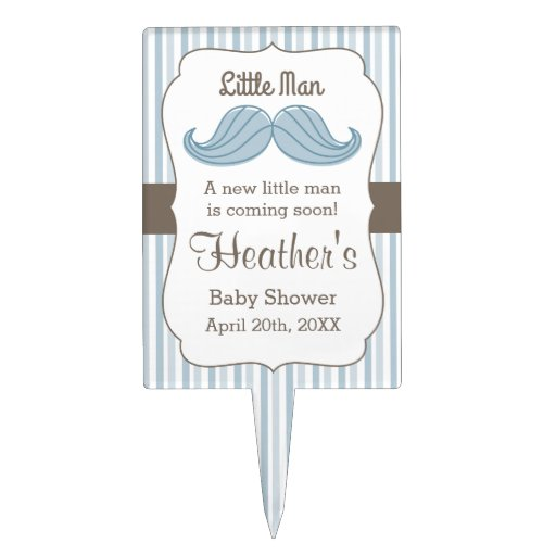 Mustache Little Man Cake Toppers