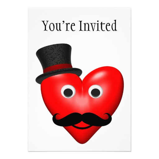 Mustache Love With Tophat Custom Invite