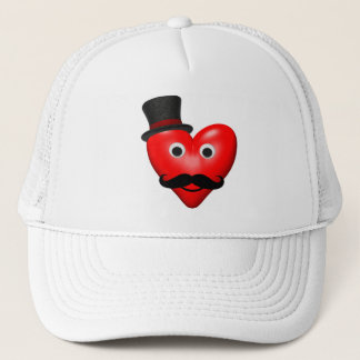 Mustache Love With Tophat Trucker Hat