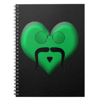 Mustache Man on Green Heart Very Retro Journal