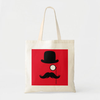 Mustache Man on Red Background Budget Tote Bag