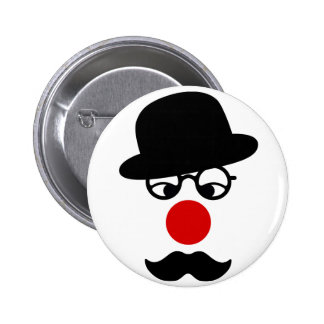 Mustache Man with Hat and Clown Nose Pin