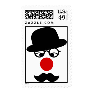 Mustache Man with Hat and Clown Nose Postage