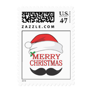 Mustache Merry Christmas Postage Stamp