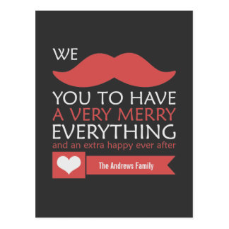 Mustache Merry Everything Postcard