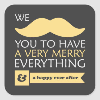 Mustache Merry Everything Square Sticker