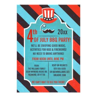 Mustache Monocle 4th of July Party Invitations