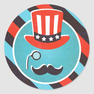 Mustache Monocle 4th of July Party Stickers