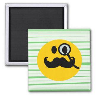 Mustache monocle Smiley 2 Inch Square Magnet