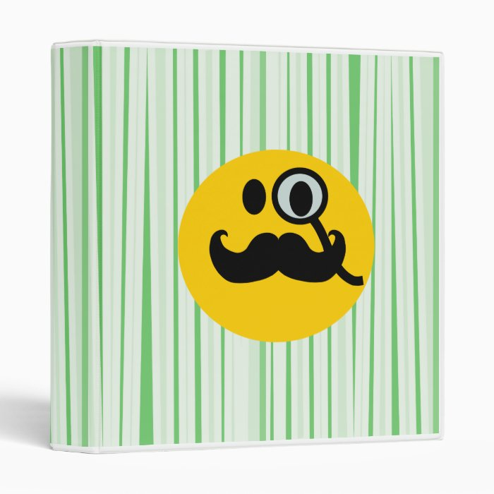 Mustache monocle Smiley 3 Ring Binder