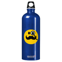 SIGG Traveller Water Bottle (0.6L) with Mustache with Monocle Smiley design