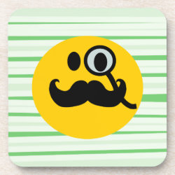 Beverage Coaster with Mustache with Monocle Smiley design
