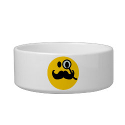 Cat Food Bowl with Mustache with Monocle Smiley design