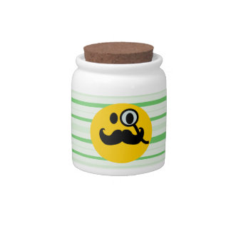 Mustache monocle Smiley Candy Jars