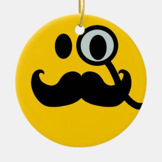 Mustache monocle Smiley Ceramic Ornament