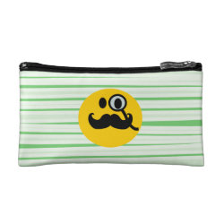 Small Cosmetic Bag with Mustache with Monocle Smiley design