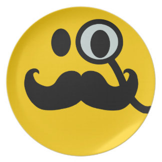 Mustache monocle Smiley Dinner Plate