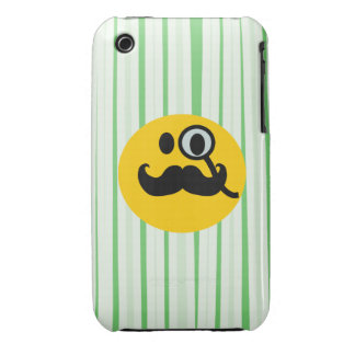 Mustache monocle Smiley iPhone 3 Case