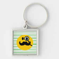 Premium Square Keychain with Mustache with Monocle Smiley design