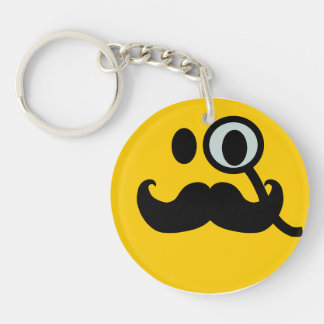 Mustache monocle Smiley Keychain