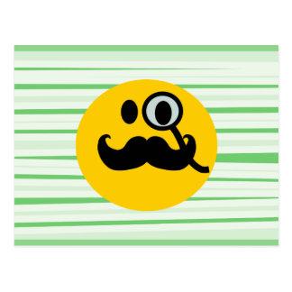 Mustache monocle Smiley Postcard