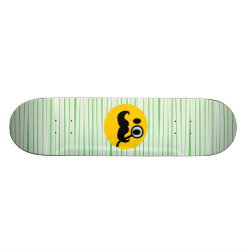7 7/8' Competition Skateboard Deck with Mustache with Monocle Smiley design
