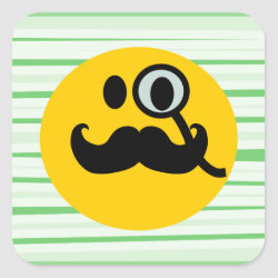 Square Sticker with Mustache with Monocle Smiley design