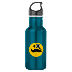 Water Bottle (24 oz) with Mustache with Monocle Smiley design