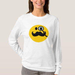 Women's Basic Long Sleeve T-Shirt with Mustache with Monocle Smiley design