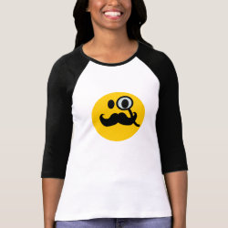 Ladies Raglan Fitted T-Shirt with Mustache with Monocle Smiley design